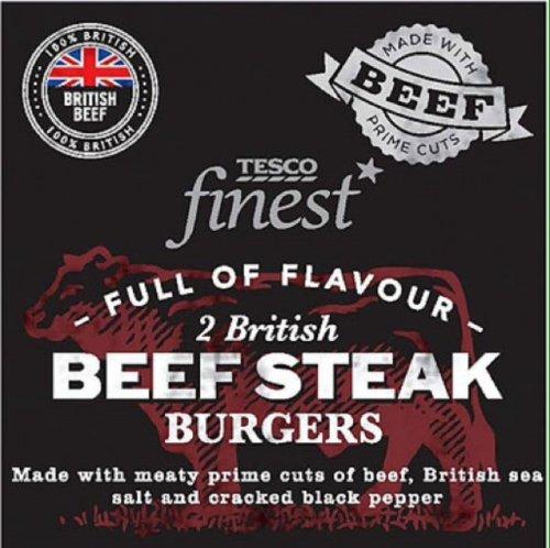 Tesco Finest British Beef Steak Burgers 2 Per Pack NOW HALF PRICE TESCO