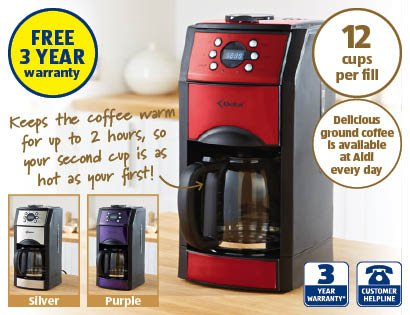 aldi coffee machine with grinder half price now aldi hotukdeals. Black Bedroom Furniture Sets. Home Design Ideas
