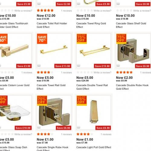 39 cascade 39 gold effect bathroom accessories at b q instore for B q bathroom accessories
