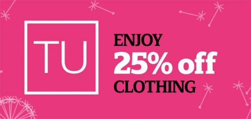 The official Sainsbury's Tu Clothing sale is now on where you can get 25% off all clothing. This sale ends on October 31st and is subject to availability, this counts for selected stores and online.