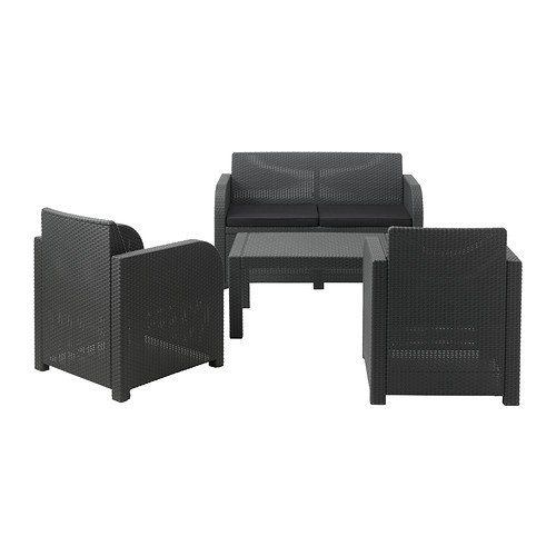 Rattan garden furniture set sofa table and two chairs 179 for Garden furniture deals