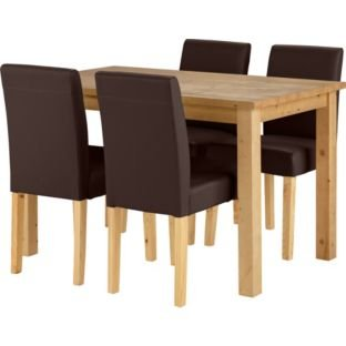 madison oak stain dining table and 4 chocolate chairs. Black Bedroom Furniture Sets. Home Design Ideas