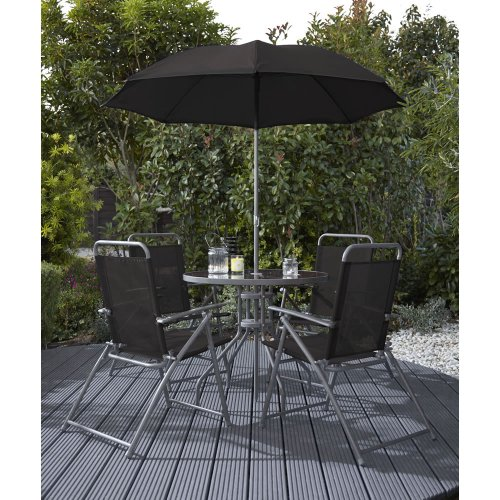 Wilko garden furniture round patio set black 6 piece 50 for Garden furniture set deals