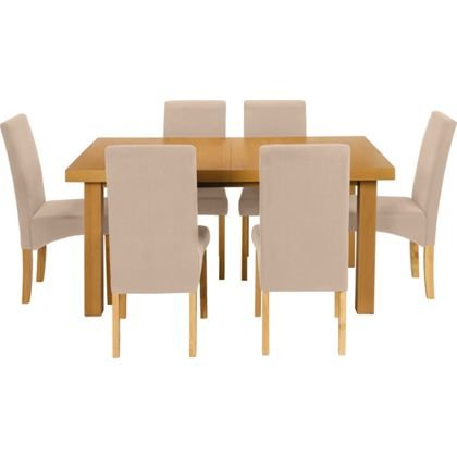 Cosgrove Extendable Oak Dining Table And 6 Cream Chairs With Code Now 328 9