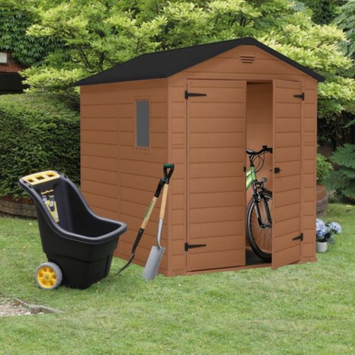 B q blooma double door 8 x 6 plastic garden shed 219 reduced from instore b q - Garden sheds m x m ...