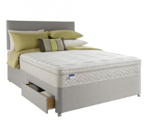 Silentnight miracoil munich innergetic latex divan sprung for Double divan base with drawers