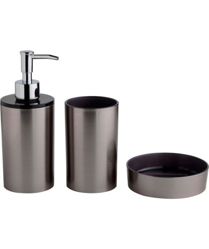 Plastic bathroom accessories set stainless steel or white for Bathroom accessories argos