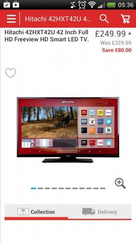 hitachi 42hxt42u 42 inch full hd freeview hd smart led tv. Black Bedroom Furniture Sets. Home Design Ideas