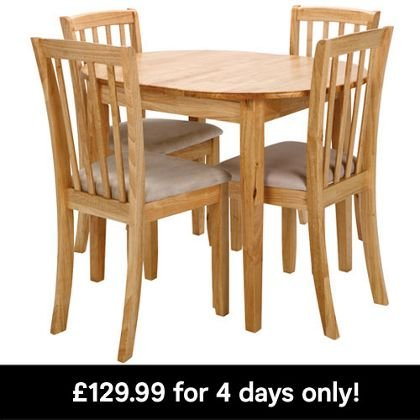 extending dining table and 4 chairs homebase 4 days only. Black Bedroom Furniture Sets. Home Design Ideas