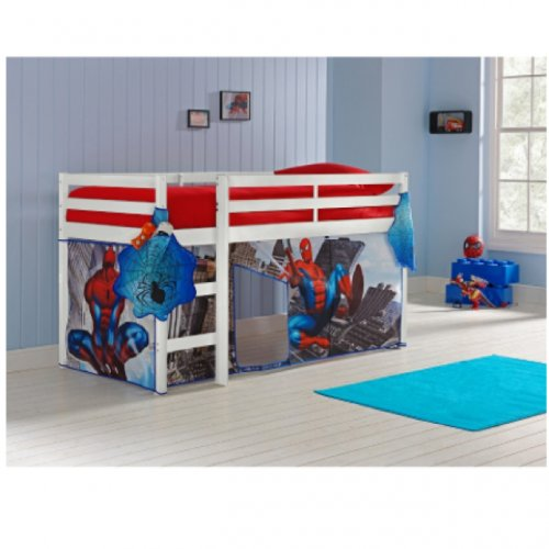 White Single Mid Sleeper Bed Amp Spider Man Tent 163 135 99
