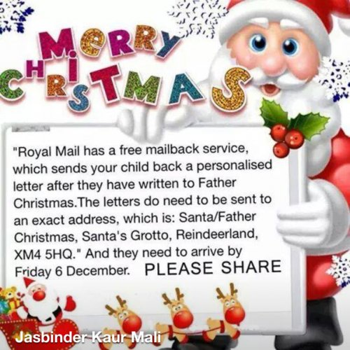Royal Mail Send A Letter To Father Christmas