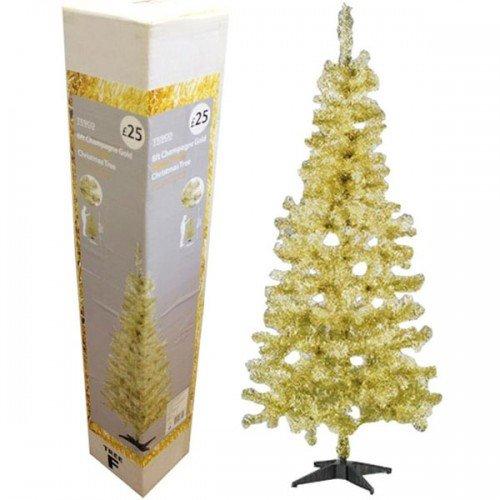 Tesco 6ft Champagne Gold Glitter Tinsel Christmas Xmas