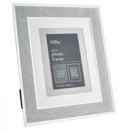 large 10 x 8 glitter silver photo frame 3 asda in. Black Bedroom Furniture Sets. Home Design Ideas