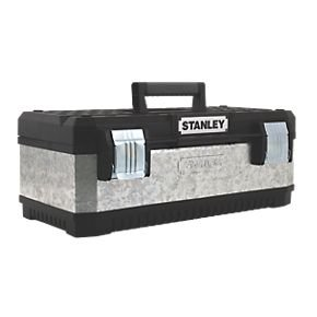 stanley 23 galvanized metal tool box click and. Black Bedroom Furniture Sets. Home Design Ideas