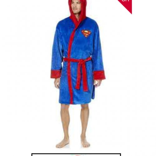 dc comics superman fleece dressing gown robe rrp 20. Black Bedroom Furniture Sets. Home Design Ideas