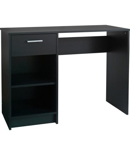 cheap lucas office desk with drawer in black. Black Bedroom Furniture Sets. Home Design Ideas