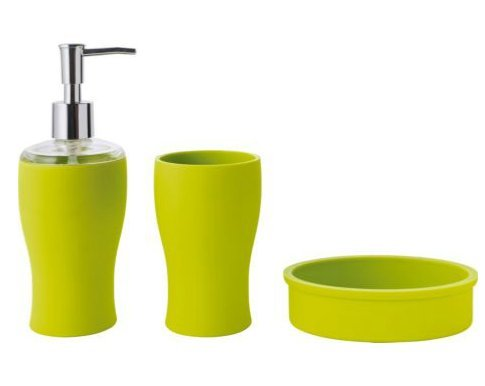 Colourmatch bathroom accessories set apple green for Bathroom accessories argos
