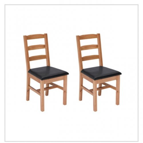 Living wiltshire pair of solid oak black dining chairs for Best deals on dining tables and chairs