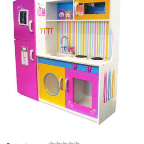 Large wooden girls play kitchen big red warehouse for Girls play kitchen