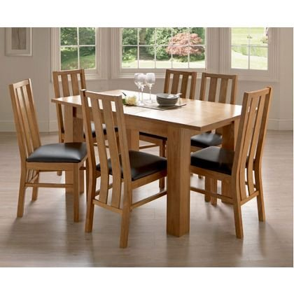 oakleigh dining table with 6 chairs oak homebase 186. Black Bedroom Furniture Sets. Home Design Ideas