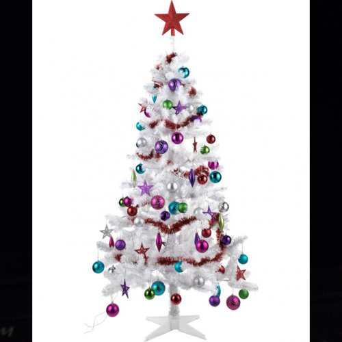 Argos Christmas Light Decorations: 6ft White Christmas Tree With 75 Decorations 70% Off At