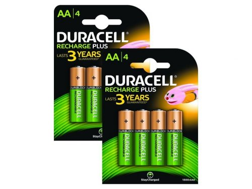 8 x duracell 1300mah aa size staycharged rechargeable. Black Bedroom Furniture Sets. Home Design Ideas