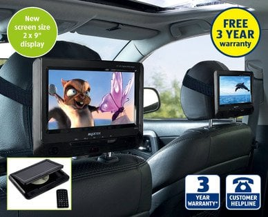 aldi in car dvd players 21st may 2x9 inch screens and 3 year warranty hotukdeals. Black Bedroom Furniture Sets. Home Design Ideas