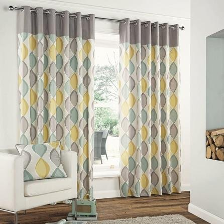 Grey retro lined eyelet curtains now from at dunelm for Modern living room curtains uk