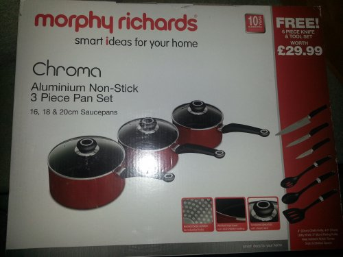 morphy richards saucepan set 25 asda caerphilly. Black Bedroom Furniture Sets. Home Design Ideas