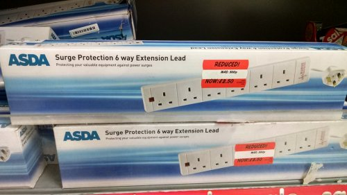 6 way extension lead surge protected asda in. Black Bedroom Furniture Sets. Home Design Ideas