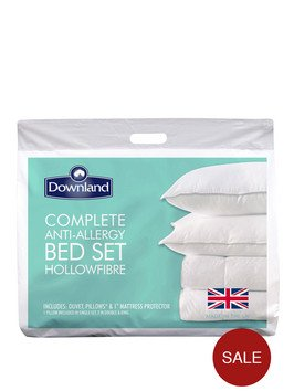 Downland Complete Anti Allergy Bed Set Duvet Pillows And