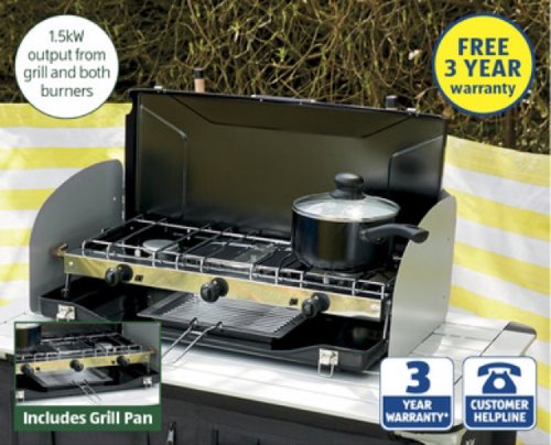 aldi dual burner with grill from 25 june hotukdeals. Black Bedroom Furniture Sets. Home Design Ideas