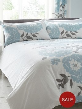 Modern floral complete bedroom set duvet cover and pillowcase fitted sheet and tab top for Complete bedroom sets with curtains