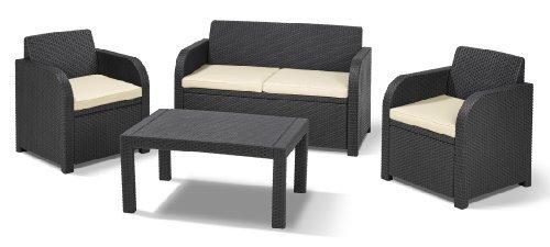 allibert carolina lounge set graphite with cream. Black Bedroom Furniture Sets. Home Design Ideas