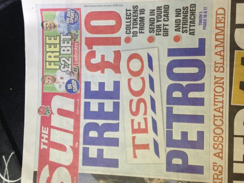 free 10 tesco gift card with the sun use on petrol. Black Bedroom Furniture Sets. Home Design Ideas