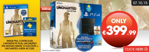 [New Model] Playstation 4 500GB Console Uncharted: The Nathan Drake Collection Bundle + 3 Months ...