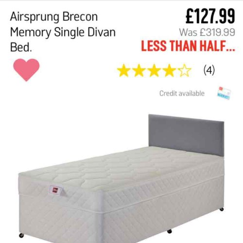 Airsprung brecon memory single divan bed argos hotukdeals Argos single divan beds