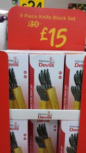 Kitchen Devils 9 Piece Knife Block Set - Professional Cook