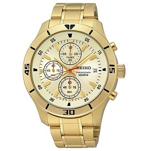 seiko s chronograph gold plated bracelet 163 74 99