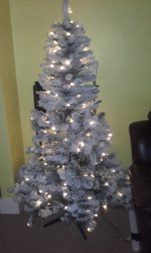 asda 6ft pre lit snowy tree with metal stand 180 warm. Black Bedroom Furniture Sets. Home Design Ideas