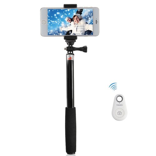 extendable telescopic selfie stick with bluetooth remote shutter for smart phones sold by. Black Bedroom Furniture Sets. Home Design Ideas