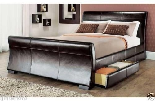4 Drawers Faux Leather Storage Sleigh Bed Double Or King Size Beds Memory