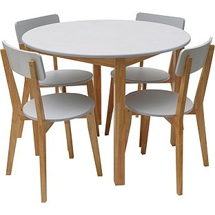 Hygena rye black or white dining table and 4 chairs for White dining table and 4 chairs
