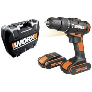 worx 20v hammer drill with 2 lithium ion batteries half. Black Bedroom Furniture Sets. Home Design Ideas