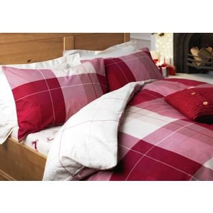 single tartan brushed cotton duvet set fitted sheet. Black Bedroom Furniture Sets. Home Design Ideas