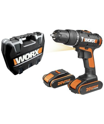 worx 20v hammer drill with 2 lithium ion batteries. Black Bedroom Furniture Sets. Home Design Ideas