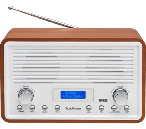 sandstrom sdr15 dab dab fm clock radio walnut white was easter deal currys 40. Black Bedroom Furniture Sets. Home Design Ideas