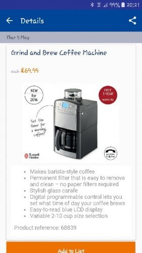 Aldi Coffee Maker Deals : I recommend Grind and Brew Coffee Machine from 05/05/2016 at ALDI. ?69.99 - HotUKDeals