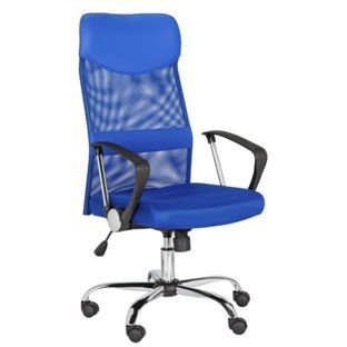 blue mesh and leather effect headrest office chair. Black Bedroom Furniture Sets. Home Design Ideas
