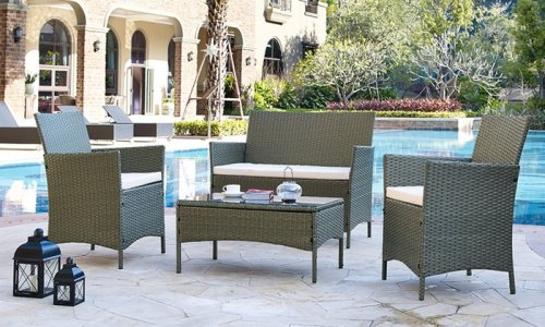 Four piece rattan effect garden furniture set in choice of for Garden furniture set deals